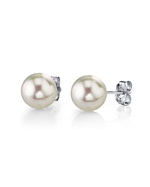 7.5-8.0mm White Akoya Pearl Stud Earrings