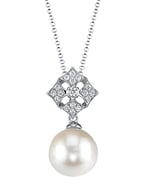 White South Sea Pearl & Diamond Jade Pendant