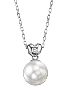 White South Sea Pearl & Diamond Lev Pendant