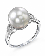 White South Sea Pearl & Diamond Shelby Ring