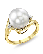 White South Sea Pearl & Diamond Sia Ring - Secondary Image