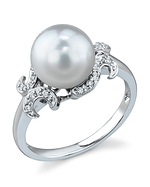 South Sea Pearl & Diamond Crown Jewel Ring