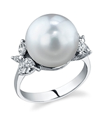 South Sea Pearl & Diamond Floral Ring