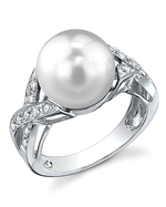 South Sea Pearl & Diamond Infinity Ring