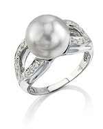 South Sea Pearl & Diamond Princess Ring