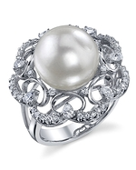 White South Sea Diamond & Pearl Barbara Ring