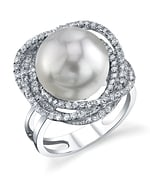 South Sea Pearl & Diamond Braided Ring
