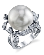South Sea Pearl & Diamond Flower Ring