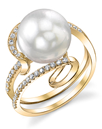 South Sea Pearl & Diamond Ivy Ring - Secondary Image