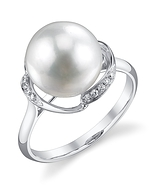 White South Sea Pearl & Diamond Ruby Ring