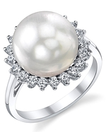South Sea Pearl & Diamond Sage Ring