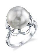 South Sea Pearl & Diamond Virginia Ring