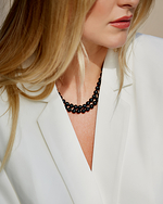 Japanese Akoya Black Pearl Double Strand Necklace - Model Image
