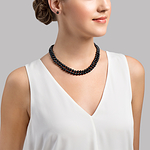 Japanese Akoya Black Pearl Double Strand Necklace - Secondary Image