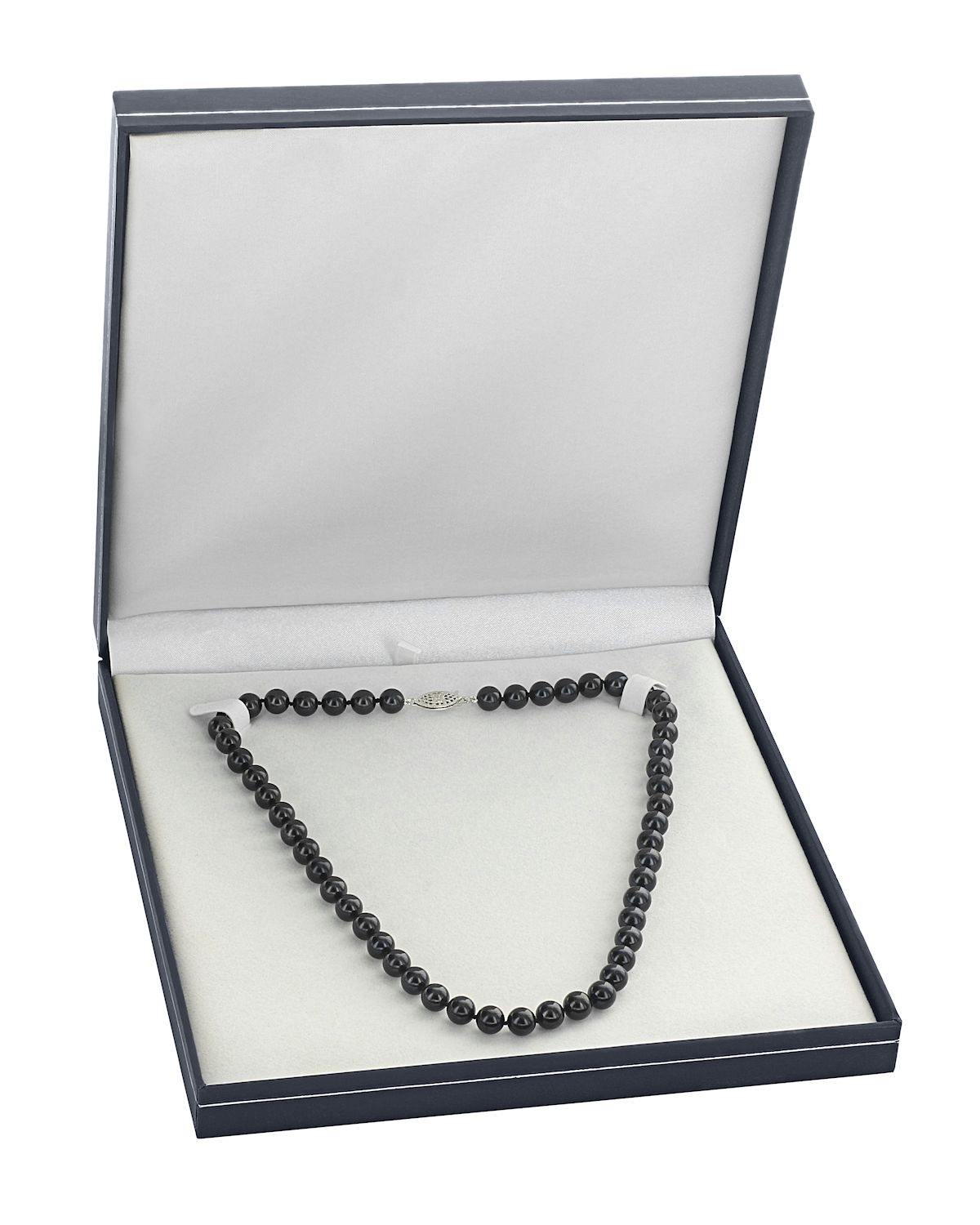 5.0-5.5mm Japanese Akoya Black Choker Length Pearl Necklace- AA+ Quality - Secondary Image