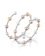 14K Gold 7mm Multicolor Freshwater Pearl Beaded Bangle Rita Bracelet