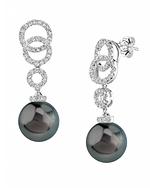 Tahitian South Sea Pearl & Diamond Link Earrings