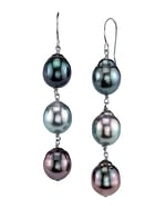 Tahitian South Sea Drop Multicolor Pearl Tincup Earrings