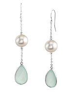 14K Gold Freshwater Pearl & Chalcedony Sophia Tincup Earrings