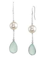 Freshwater Pearl & Chalcedony Sophia Tincup Earrings