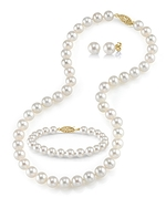 8-9mm Freshwater Pearl Necklace, Bracelet & Earrings - Third Image
