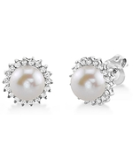 Freshwater Pearl & Diamond Tessie Earrings