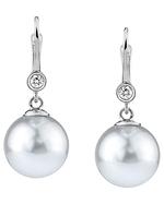 Freshwater Pearl & Diamond Michelle Earrings- Various Colors