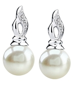 9mm White Freshwater Pearl & Diamond Earrings
