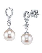 White Freshwater Pearl & Diamond Celise Earrings