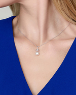 Akoya Pearl & Diamond Lacy Pendant - Model Image