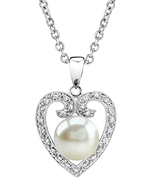 Heart Shaped Freshwater Pearl & Diamond Pendant- Choose Your Color