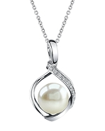 Freshwater Pearl & Diamond Alexis Pendant- Choose Your Color