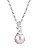 9mm Freshwater Pearl & Diamond Wave Pendant