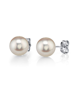 8mm White Freshwater Studs - Premier Quality