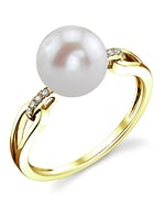 Freshwater Pearl & Diamond Holly Ring - Model Image
