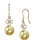 Golden South Sea Pearl & Diamond Lacy Earrings
