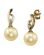 Golden South Sea Pearl & Diamond Lois Earrings