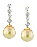 Golden South Sea Pearl & Diamond Julia Earrings