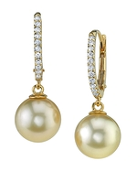 Golden Pearl & Diamond Aurora Leverback Earrings