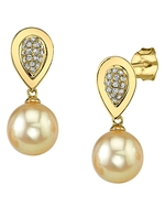 Golden Pearl & Diamond Alexandra Earrings