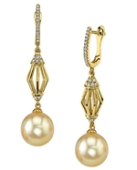 Golden South Sea Pearl & Diamond Arianna Earrings