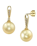Golden Pearl & Diamond Bailey Earrings