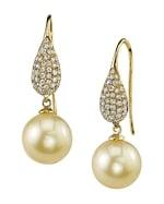 Golden Pearl & Diamond Brooklyn Earrings