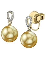 Golden Pearl & Diamond Callie Earrings