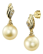 Golden Pearl & Diamond Lily Earrings