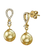 Golden South Sea Pearl & Diamond Celise Earrings