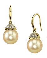 Golden Pearl & Diamond Emma Earrings