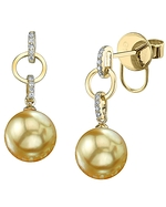 Golden Pearl & Diamond Holly Earrings