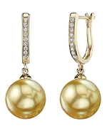 Golden Pearl & Diamond Kim Earrings