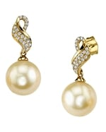 Golden South Sea Pearl & Diamond Melanie Earrings
